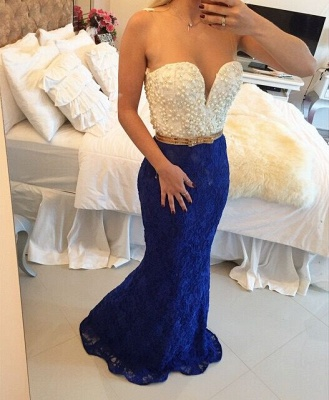 Pearls Top Lace Mermaid Prom Dresses White and Royal Blue Long Formal Evening Gowns_2