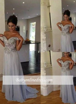 Off-the-Shoulder Chiffon Long Silver A-line Crystals Prom Dresses_3