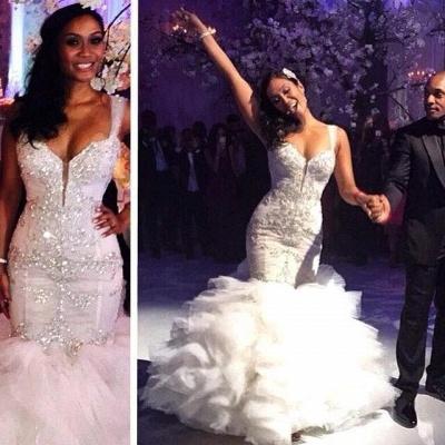 Ruffles Spaghetti Straps Tulle Crystal Mermaid Wedding Dresses_3