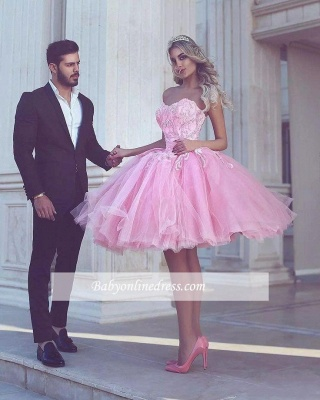 Pink Ball-Gown Appliues Sweetheart-Neck Short Homecoming Dresses_1