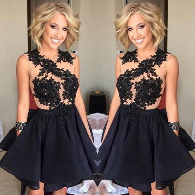 Black Sleeveless A-Line Short Appliques Homecoming Dresses_3