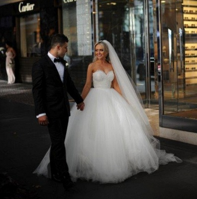 Sweetheart Lace Beaded Puffy Ball Gown Tulle Princess Wedding Dresses_3