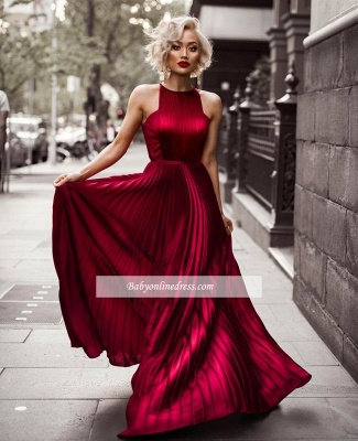 Sheath Burgundy Sleeveless Floor Jewel Dresses Length Pleats Prom Evening Dresses_1