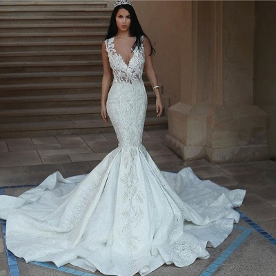 Sexy V-Neck Mermaid Wedding Dresses | Lace Appliques Open Back Bridal Gowns_3