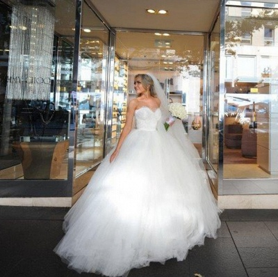 Sweetheart Lace Beaded Puffy Ball Gown Tulle Princess Wedding Dresses_6