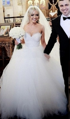 Sweetheart Lace Beaded Puffy Ball Gown Tulle Princess Wedding Dresses_1