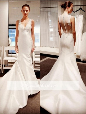 V-Neck Button Zipper Sleeveless Gorgeous Lace Mermaid Wedding Dresses_1