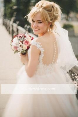 Appliques Gorgeous Tulle Floor-Length Princess Cap-Sleeve Lace Wedding Dresses_1