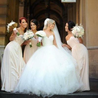 Sweetheart Lace Beaded Puffy Ball Gown Tulle Princess Wedding Dresses_5