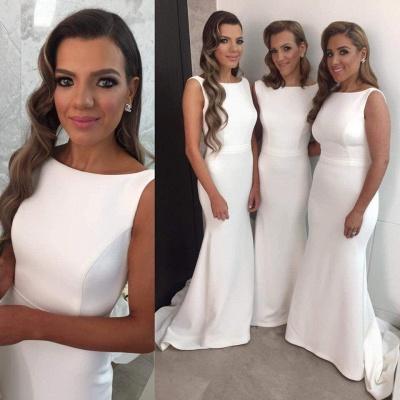 Elegant Simple Mermaid Bridesmaid Dress Sleeveless Sweep Train_3