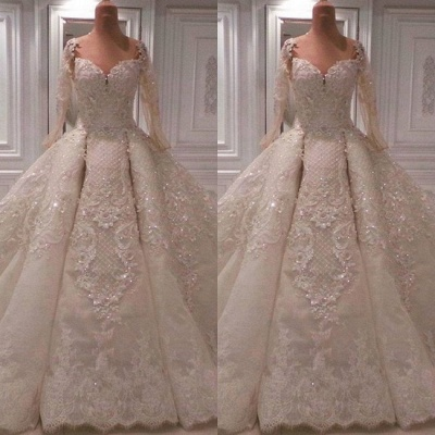 Luxury Lace Ball Gown Wedding Dresses | 2020 Bridal Gowns with Sleeves_2
