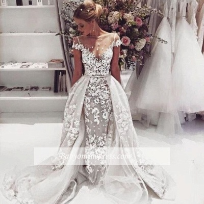 Appliques Cap-Sleeves Open-Back Illusion Lace Popular Overskirt Wedding Dress_1