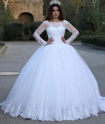 Jewel Lace Ball Gown Wedding Dresses with Long Sleeves_2