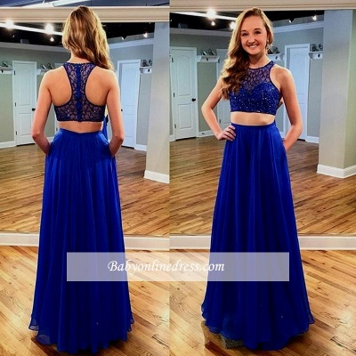 2018 Royal Blue Two piece Sleeveless Long Jewel Newest Prom Dress with Beadings_1