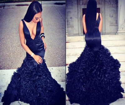 Alluring Mermaid Long Evening Dresses Ruffles Organza Prom Dress_4