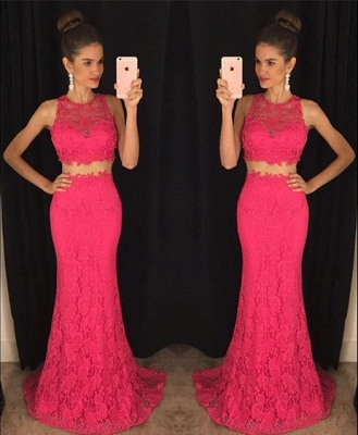 Two-Pieces Lace Mermaid Prom Dresses Sleeveless Sweep Train Evening Gowns_7