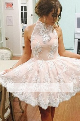Cute Sleeveless Pink Lace Halter Neck Short Homecoming Dress_1