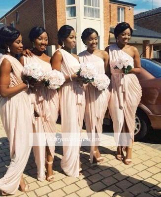 Elegant Long A-line One-Shoulder Sleeveless Front-Split Bridesmaid Dress_1