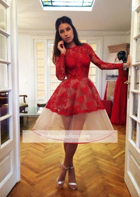 Popular Red Sheer Lace Appliques Long-Sleeve Charming Homecoming Dresses_1