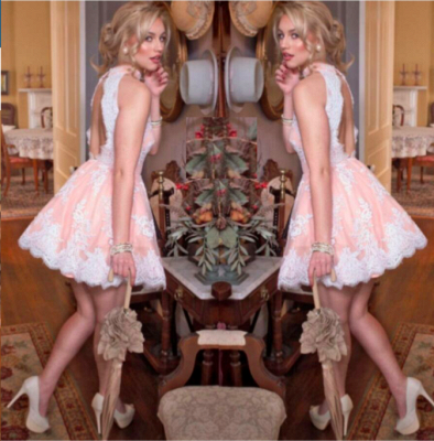 Cute Sleeveless Pink Lace Halter Neck Short Homecoming Dress_4