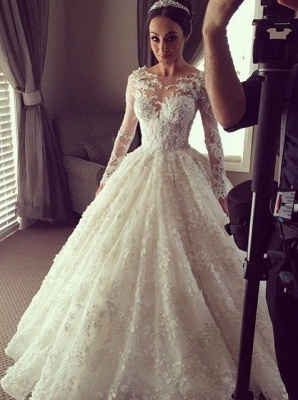 Illusion Long Sleeves 3D-Floral Appliques Luxury Ball Gown Wedding Dresses_1