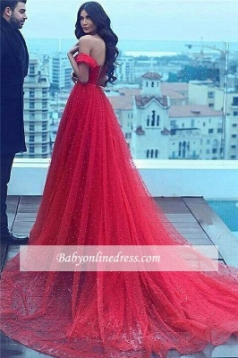 2018 Amazing Red Beading Off-the-shoulder A-line Sweetheart Court-Train Prom Dress_3