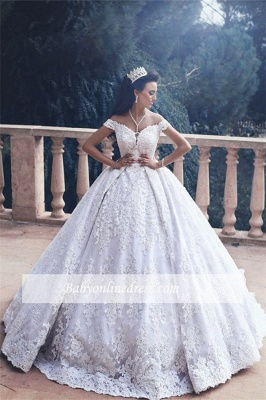 Appliques Lace Off-The-Shoulder Princess Ball-Gown Luxurious Wedding Dress_1