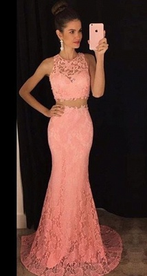 Two-Pieces Lace Mermaid Prom Dresses Sleeveless Sweep Train Evening Gowns_1