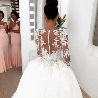 Illusion Long Sleeves 3D-Floral Appliques Luxury Ball Gown Wedding Dresses_4