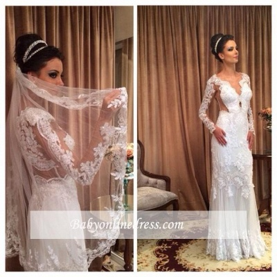 White Lace Sheath Sleeve Column Floor Length Long Wedding Dress_1