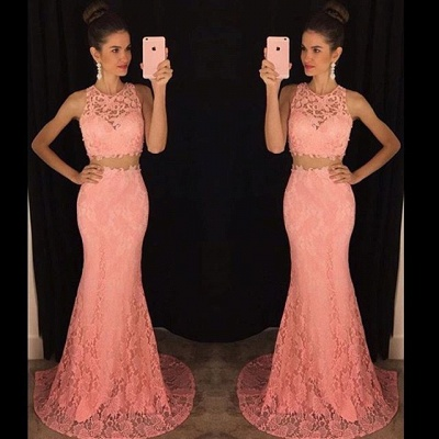 Two-Pieces Lace Mermaid Prom Dresses Sleeveless Sweep Train Evening Gowns_3