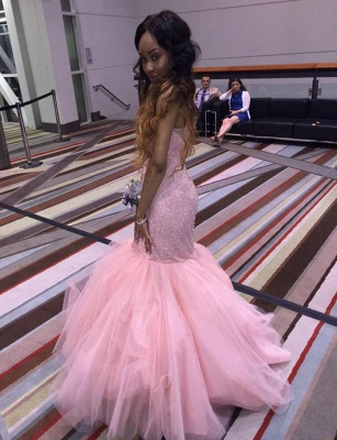 Hot Fit and Flare Long Light Pink Formal Party Dress Beaded Tulle Prom Dresses_3