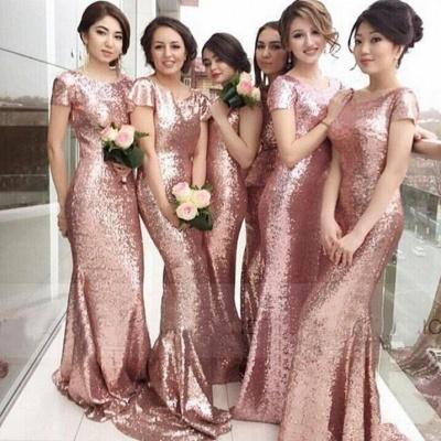 Rose Gold Mermaid Bridesmaid Dresses Short Sleeves Bling Bling Metallic Wedding Party Dresses_3