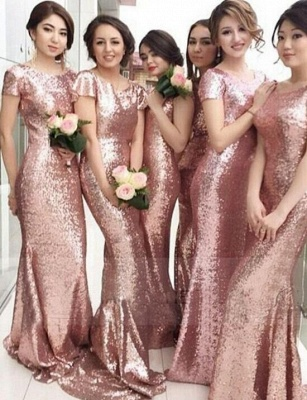 Rose Gold Mermaid Bridesmaid Dresses Short Sleeves Bling Bling Metallic Wedding Party Dresses_1