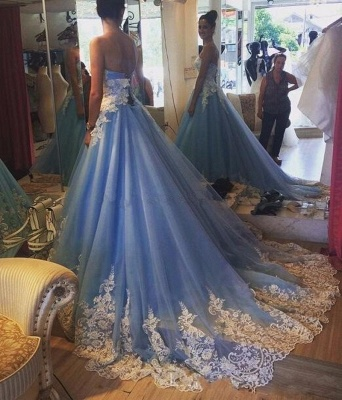 Elegant Princess Strapless Prom Dresses Lace Appliques Sleeveless Evening Gowns_3