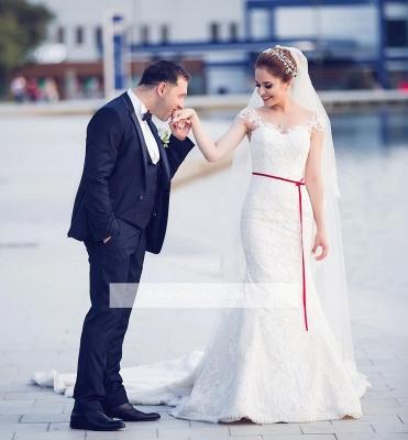 Elegant Off-the-Shoulder Sweetheart Lace-Appliques Mermaid Tull Wedding Dresses_1