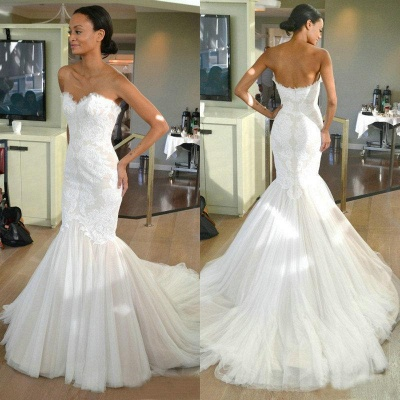 Tulle Sleeves Strapless Lace Mermaid Wedding Dresses with Sweep train_3