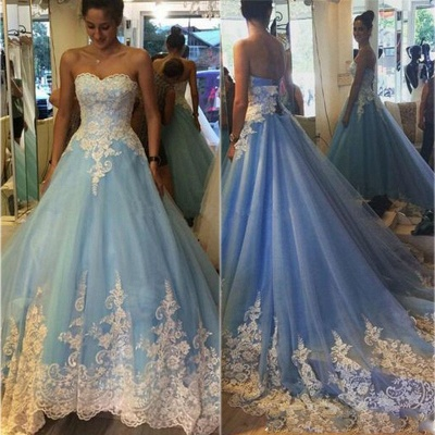 Elegant Princess Strapless Prom Dresses Lace Appliques Sleeveless Evening Gowns_4