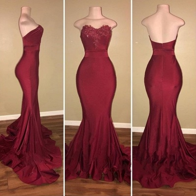 Simple Burgundy Mermaid Prom Dresses | Strapless Sweetheart Neck Evening Gowns_3