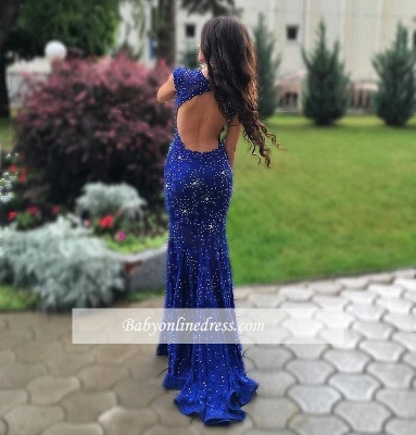 Gorgeous Royal-Blue Mermaid Prom Dress Sleeveless Lace-Appliques Evening Gowns with Beadings BA4876_1