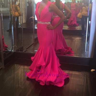 Sexy Deep-V-Neck Mermaid Prom Dress 2018 Sleeveless Evening Gowns with Beadings_1