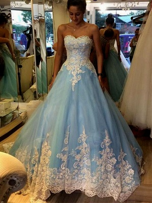 Elegant Princess Strapless Prom Dresses Lace Appliques Sleeveless Evening Gowns_2