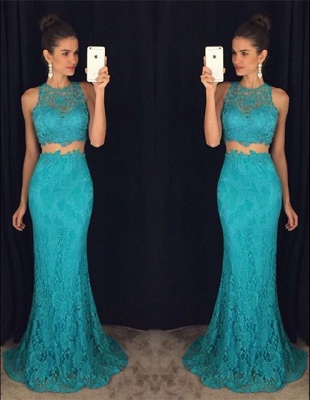Two-Pieces Lace Mermaid Prom Dresses Sleeveless Sweep Train Evening Gowns_6