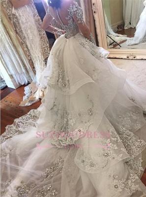 Luxury High Neck Long Sleeves Appliques Tulle Wedding Dresses Detachable Train_3