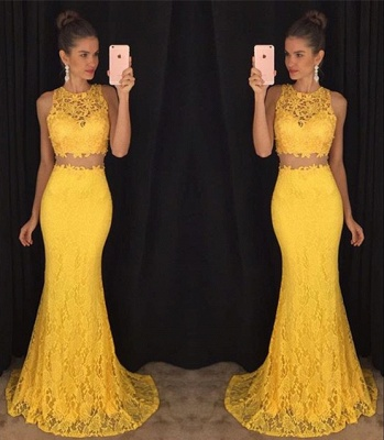 Two-Pieces Lace Mermaid Prom Dresses Sleeveless Sweep Train Evening Gowns_5