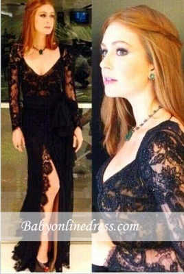 Sexy Side-Slit Lace Long-Sleeves Back Open Black Evening Gowns_3