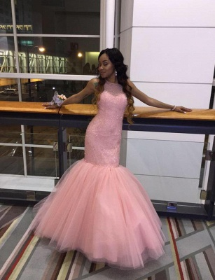Hot Fit and Flare Long Light Pink Formal Party Dress Beaded Tulle Prom Dresses_4