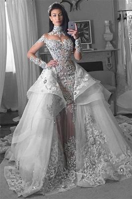 Luxury High Neck Long Sleeves Appliques Tulle Wedding Dresses Detachable Train_2