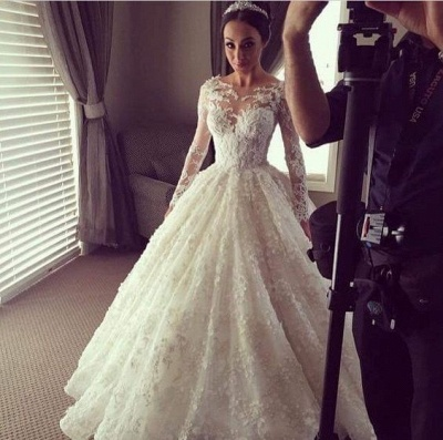 Illusion Long Sleeves 3D-Floral Appliques Luxury Ball Gown Wedding Dresses_3