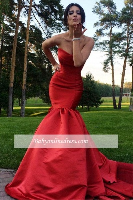 Sexy Sweetheart Red Mermaid Sweep Train Evening Dress with Zipper_3